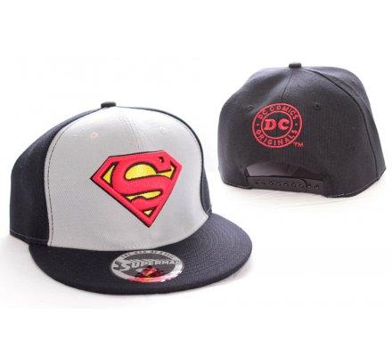 Casquette Baseball Grise et Noir Vintage Logo Superman
