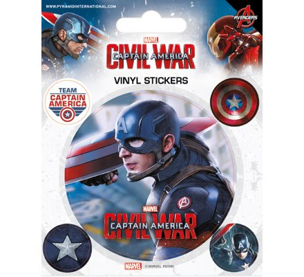 Pack de 5 Stickers Civil War Captain America