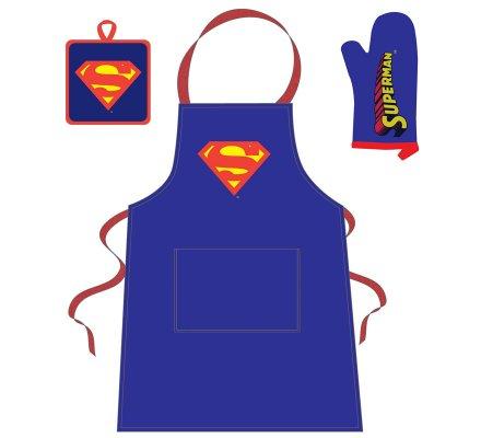 Tablier + Manique + Gant Bleu Logo Comics Superman