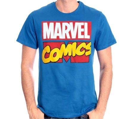 Tee-Shirt Bleu Logo Comics Marvel
