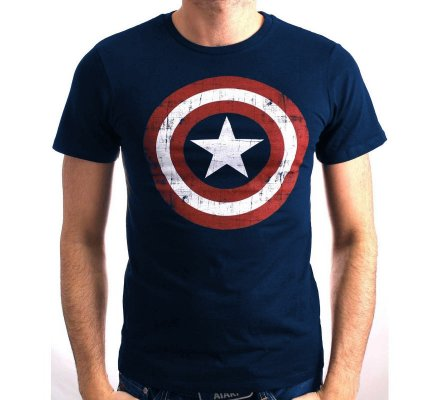 Tee-Shirt Bleu Marine Logo Shield Captain America