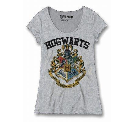 Tee-shirt Femme Gris Poudlard Harry Potter