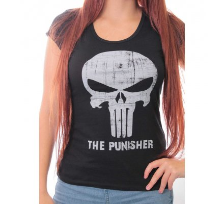 Tee-Shirt Femme Noir Logo Blanc Punisher