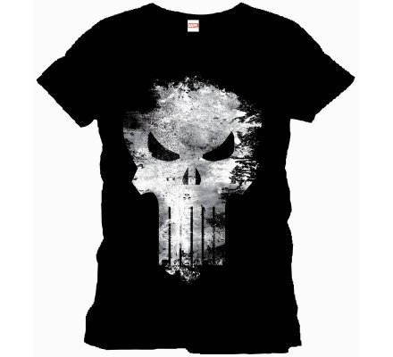 Tee-Shirt Noir Distress Skull Punisher