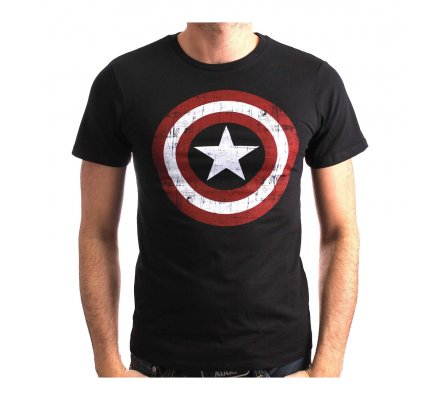 Tee-Shirt Noir Logo Shield Captain America