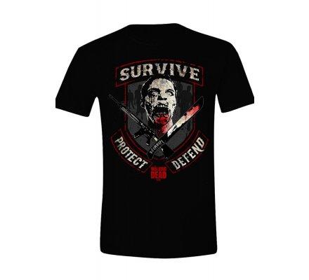 Tee-Shirt Noir Survive Protect Defend The Walking Dead