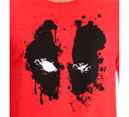 Tee-Shirt Rouge Deadpool Splash Head Marvel