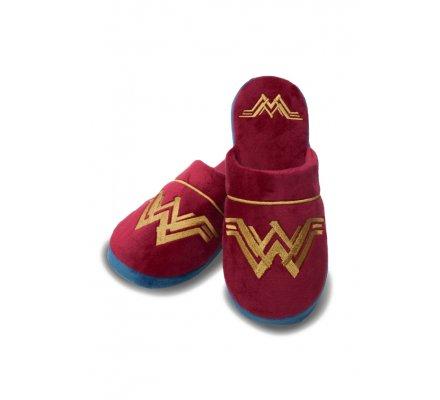 Chaussons Adulte bordeaux et dorés Wonder Woman