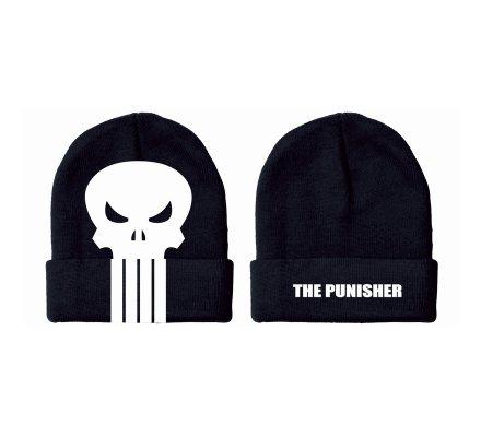 Bonnet Noir Logo Blanc Punisher