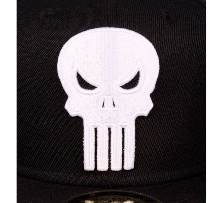 Casquette Noire Snapback Logo Blanc Punisher
