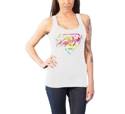 Débardeur Femme Blanc Logo Multicolore Supergirl
