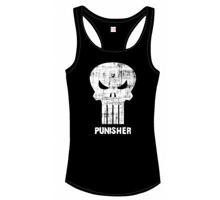 Débardeur Femme Noir Logo Blanc Punisher