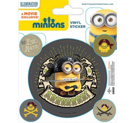 Pack de 5 Stickers Minions Pirates Moi Moche et Méchant