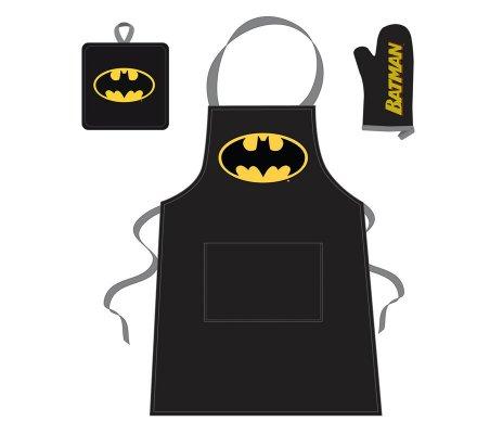 Set Barbecue Tablier Manique et Gant Noir Batman
