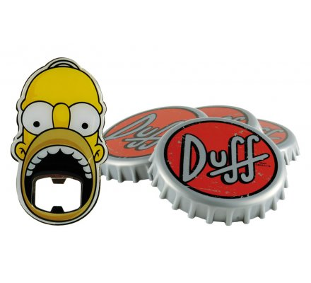 Set Décapsuleur Homer + 4 Sous-verres Duff Simpsons