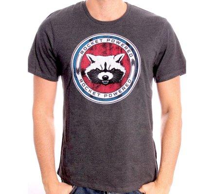 T-Shirt Homme Gris Rocket Powered Gardiens de la Galaxie