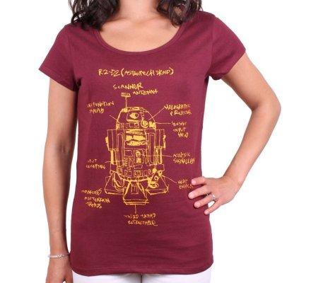 T-shirt Star Wars Femme R2D2 croquis rouge bordeaux