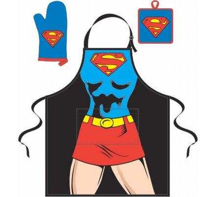 Tablier + Manique + Gant Bleu Corps Superwoman
