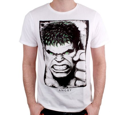 Tee-Shirt Blanc Hulk Eyes Rayon Gamma Marvel