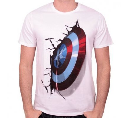 Tee-Shirt Blanc Shield On Wall Captain America