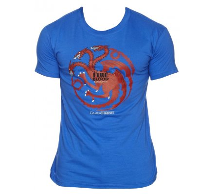 Tee-Shirt Bleu Fire And Blood Game of Thrones