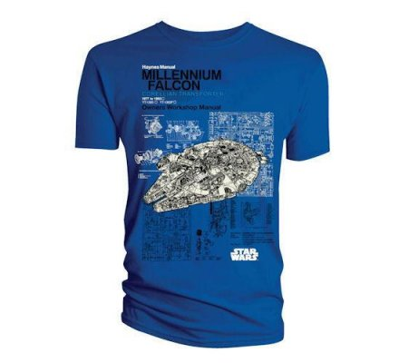 Tee-Shirt Bleue Millenium Falcon Star Wars