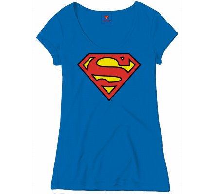Tee-Shirt Femme Bleu Logo Superman