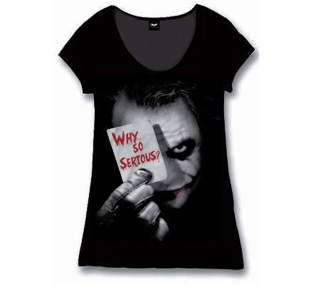Tee-Shirt Femme Noir Joker Why So Serious Batman