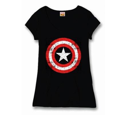 Tee-Shirt Femme Noir Logo Shield Captain America