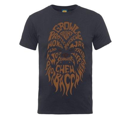 Tee-Shirt Gris Chewbacca Text Head Star Wars