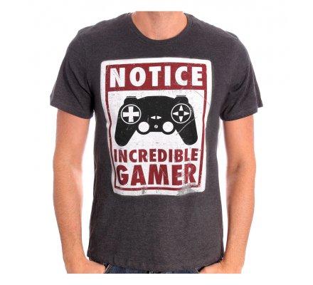 Tee-Shirt Gris Notice Incredible Gamer Geek