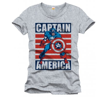 Tee-Shirt Gris Ready For Action Captain America