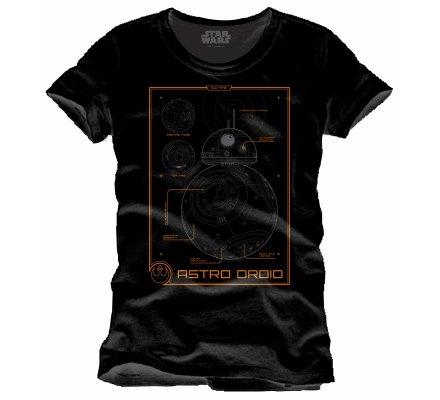 Tee-Shirt Noir BB8 Data Sheed Star Wars