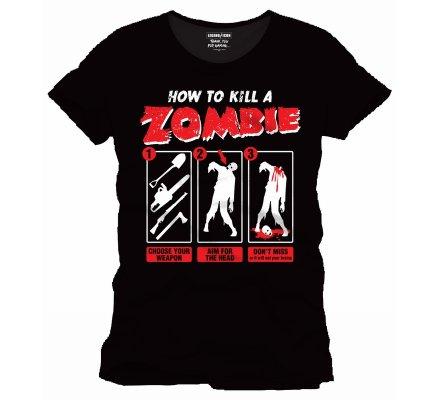 Tee-Shirt Noir How To Kill a Zombie Geek