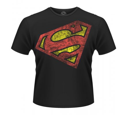 Tee-Shirt Noir Logo Rouge Diagonale Superman