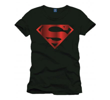 Tee-Shirt Noir Logo Rouge Métallique Superman