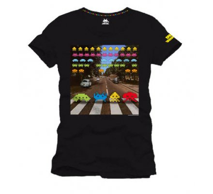 Tee-Shirt Noir On The Road Space Invaders