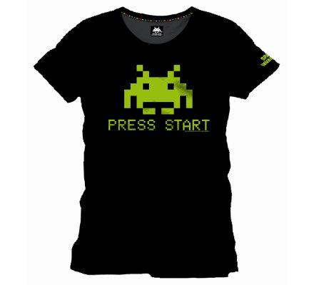 Tee-Shirt Noir Press Start Vert Space Invaders