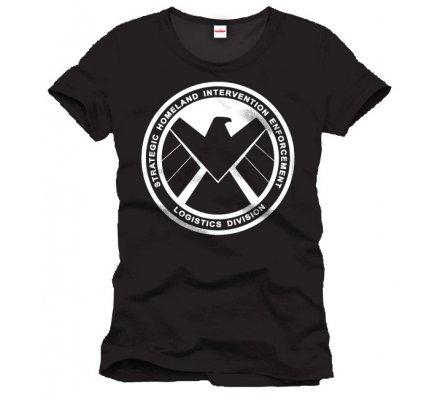 Tee-Shirt Noir Shiel Emblem Captain America