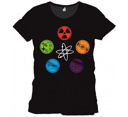 Tee-Shirt Noir Symboles Geek The Big Bang Theory