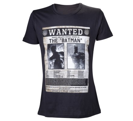 Tee-Shirt Noir The Batman Wanted Batman