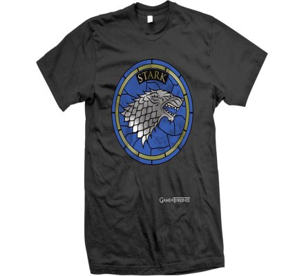 Tee-Shirt Noir Vitrail Stark Game of Thrones