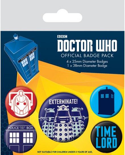 Pack de 5 badges Doctor Who