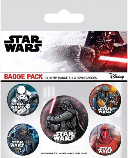 Pack de 5 badges Star Wars Dark Side