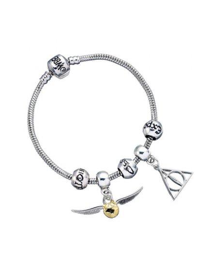 Bracelet Harry Potter Charms Reliques de la mort vif d'or et 3 sorts