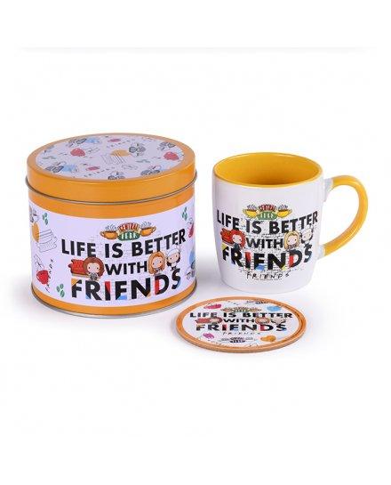 Tasse et dessous de verre LIFE IS BETTER WITH FRIENDS