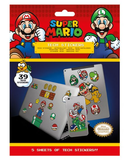 Pack de 39 Tech Stickers Super Mario Nintendo