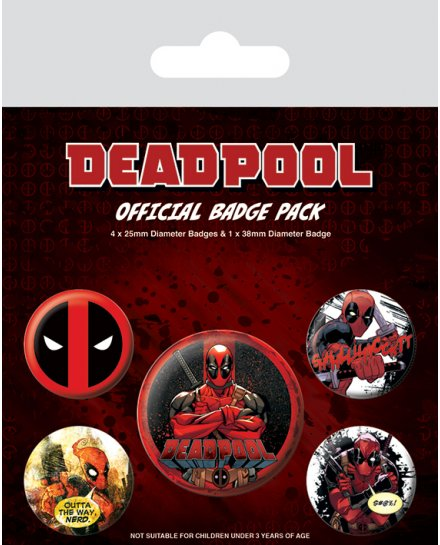 Pack de 5 badges Deadpool