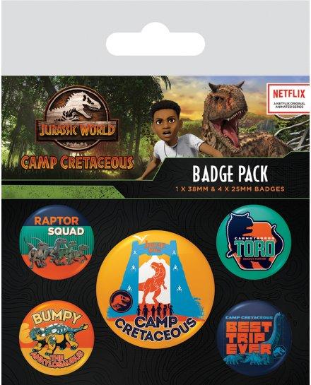 Pack de 5 badges Jurassic Park Camp Cretaceous