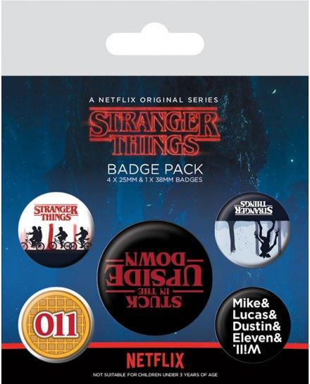 Pack de 5 badges Stranger Things Upside Down